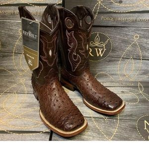 01654 MEN'S BROWN OSTRICH QUILL LEATHER WESTERN